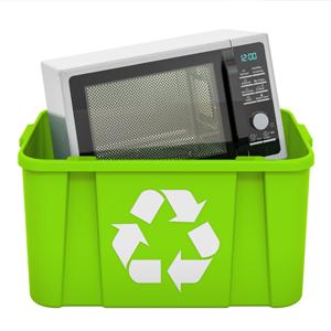 microwave in a recycling bin