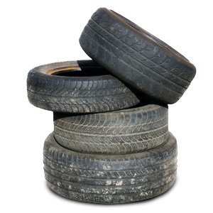 pile of four tires stacked